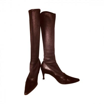 Sergio Rossi elastic leather boots