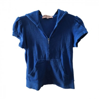 Juicy Couture short sleeve blue hooded terry jacket size M