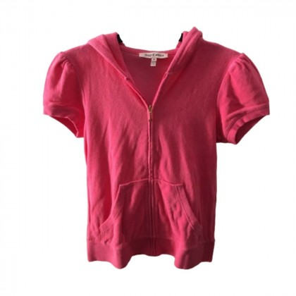 Juicy Couture short sleeve fuchsia hooded terry jacket size M