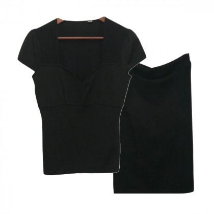 Karen Millen Black Twinset Top and Skirt size 4