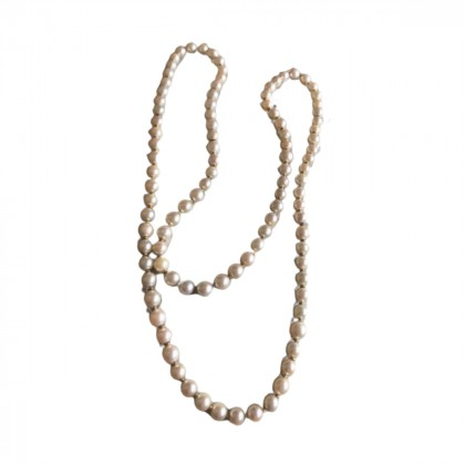 Long real pearls necklace in 18k yellow gold