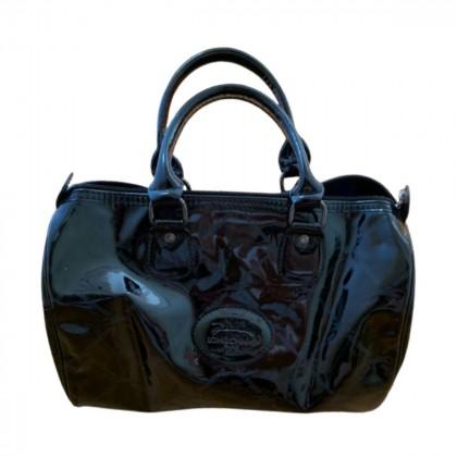 Longchamp black patent leather Boston bag