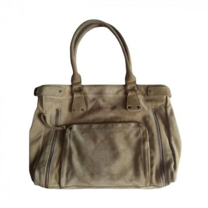 Longchamp beige suede shoulder bag