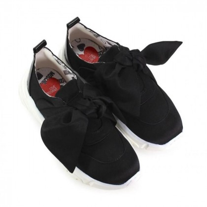 Love Moschino black satin bow sneakers-brand new size IT37