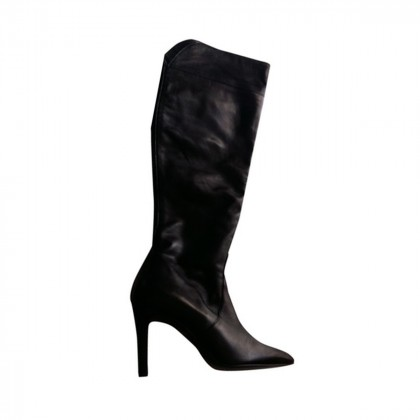 BLACK LEATHER OVER THE KNEE BOOTS BRAND NEW SIZE IT38