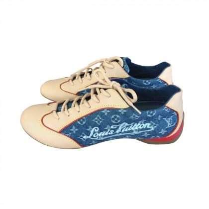 LOUIS VUITTON DENIM-LEATHER sneakers size IT36 1/2
