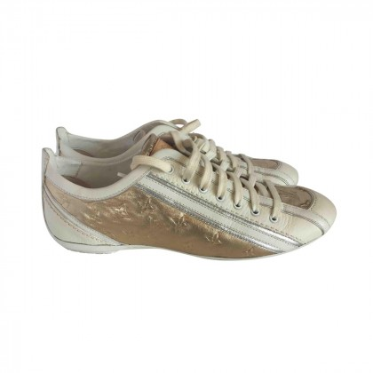 LOUIS VUITTON Monogram Embossed Leather Sneakers Gold/White size IT36 1/2