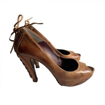 MAKIS KOTRIS brown peep toe high heel pump size IT40