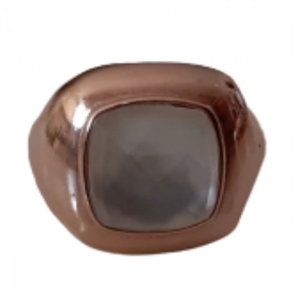Anna Mazaraki Silver plated pink gold chevalier ring with ivory stone