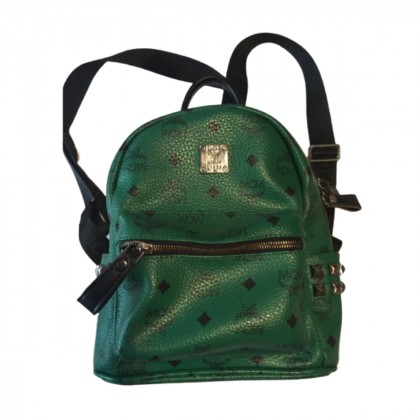 MCM dark green stark backpack with side studs