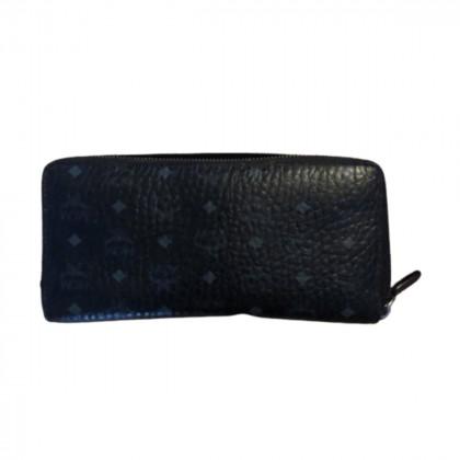 MCM black leather monogram  wallet