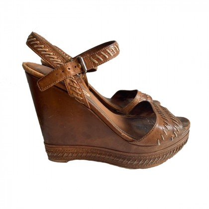 MIU MIU Brown Leather Wooden Wedge Sandals size IT40