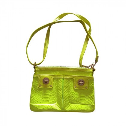 Marc Jacobs Croc Embossed Neon Yellow Genuine Leather  Bag