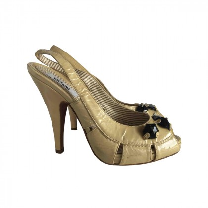 MOSCHINO calfskin  leather Slingbacks with small elastic band with logo size IT 37