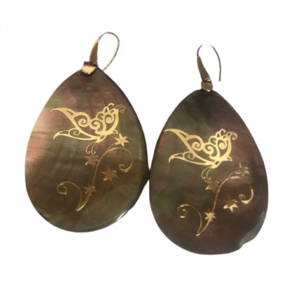 Gold plated oyster long earrings