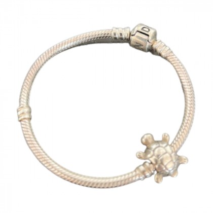 Pandora bracelet with a Tortoise charm Genuine 925 Sterling Silver