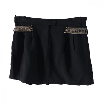 Pinko black pleated mini skirt with studded details size IT44