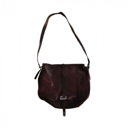 Prada brown leather messenger bag
