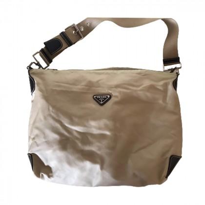 PRADA beige nylon shoulder bag