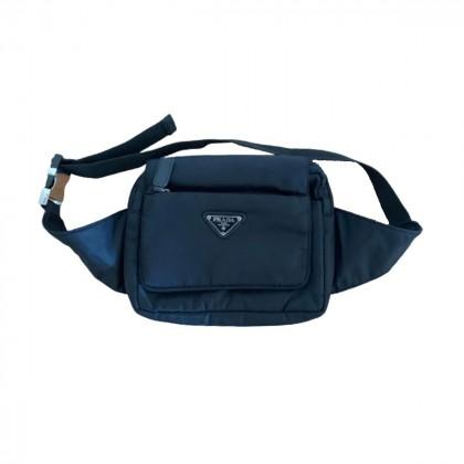 Prada tessuto nylon saffiano black waist bag
