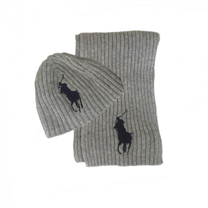 RALPH LAUREN ribbed wool beanie and scarf