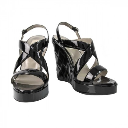 Valentino Garavani Black Patent Wedge Sandals