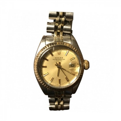 Rolex ladies Date Oyster Perpetual Steel & 18k Yellow Gold Watch