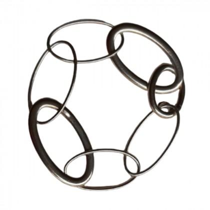 Italian silver circle link chain bracelet