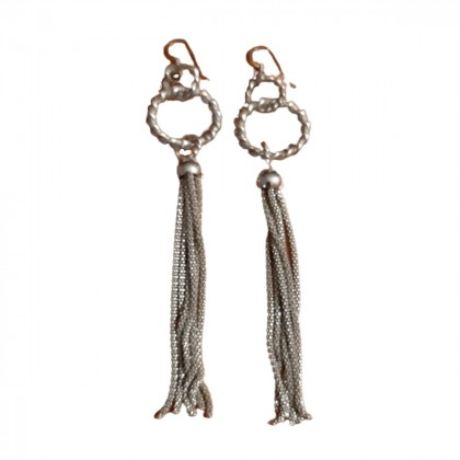Sterling silver multi-chain dangle earrings