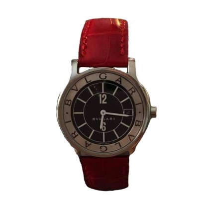 Bulgari Solotempo 35 mm with red croco print original strap collectible item with personal sign of Olympiakos basketball team