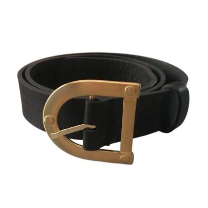 Stripes black leather belt 103 cm