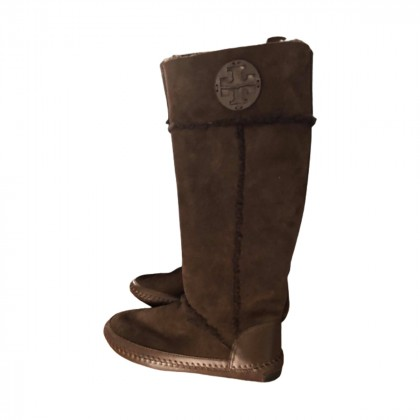 TORY BURCH brown shearling boots size IT37