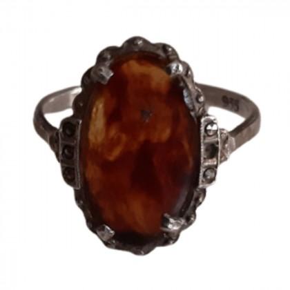 Tortoiseshell silver Vintage ring size 55