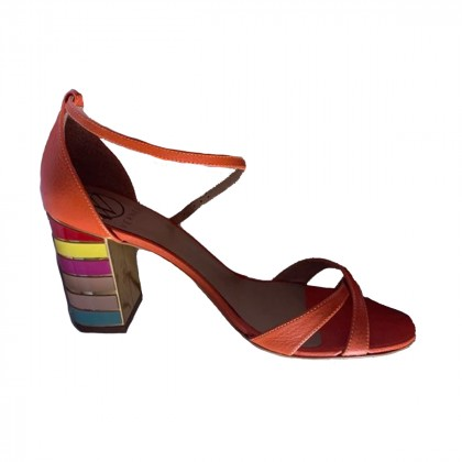 WERNER mid heel leather orange sandals size IT40