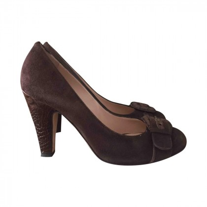 GIUSEPPE ZANOTTI brown suede pumps size IT 37 1/2