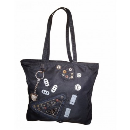 Prada collectible in black with sequins and logo studs