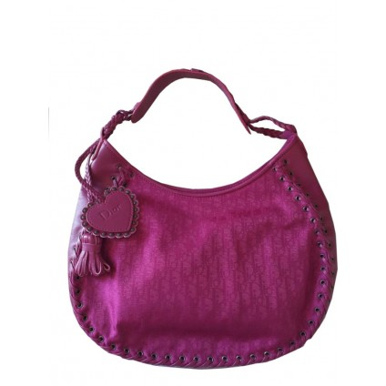 Dior fuchsia logo printed fabric with leather details