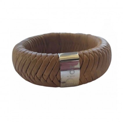 Dior camel leather cuff with metal harware logo engraving