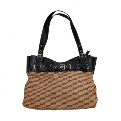Balenciaga leather and monogram canvas tote bag