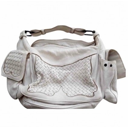 Bottega Veneta white leather handbag