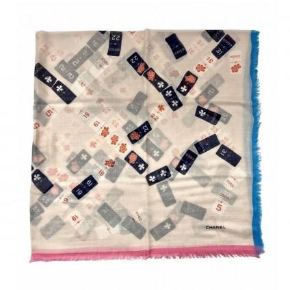 CHANEL large cashmere multicolor scarf