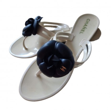 CHANEL  Camellia Flower Jelly Thong Sandals Size 39