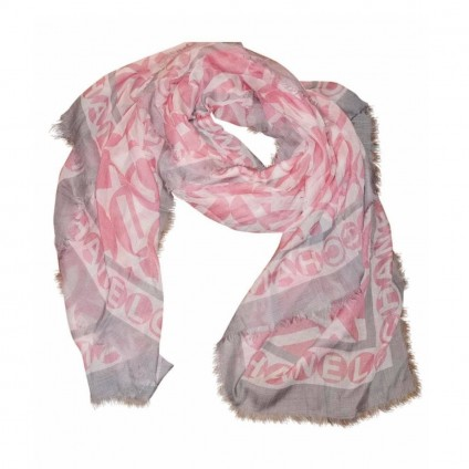 CHANEL large cashmere pink/grey scarf