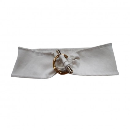 GUCCI women's white leather bamboo loop buckle belt