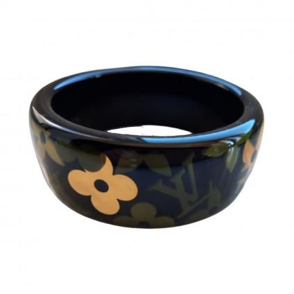 LOUIS VUITTON black resin monogram Inclusion bracelet