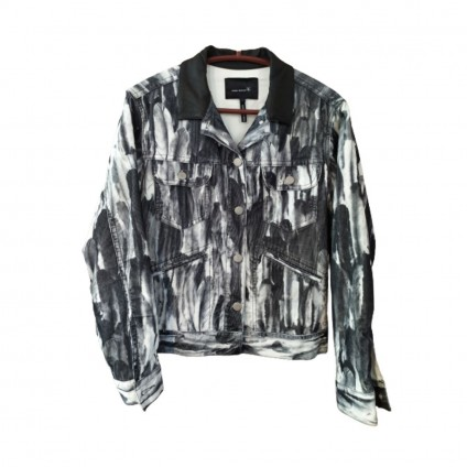 ISABEL MARANT RUNWAY FEATHER PRINT CORDUROY JACKET WITH LEATHER COLLAR  size 2-Brand new