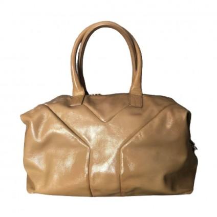 YVES SAINT LAURENT beige patent leather Easy GM Bag