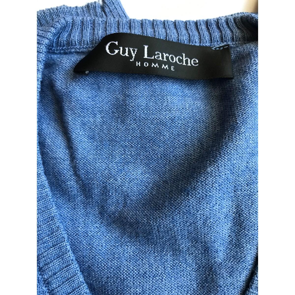6b6e387d775 Guy Laroche Blue long sleeve V Neck top size XL