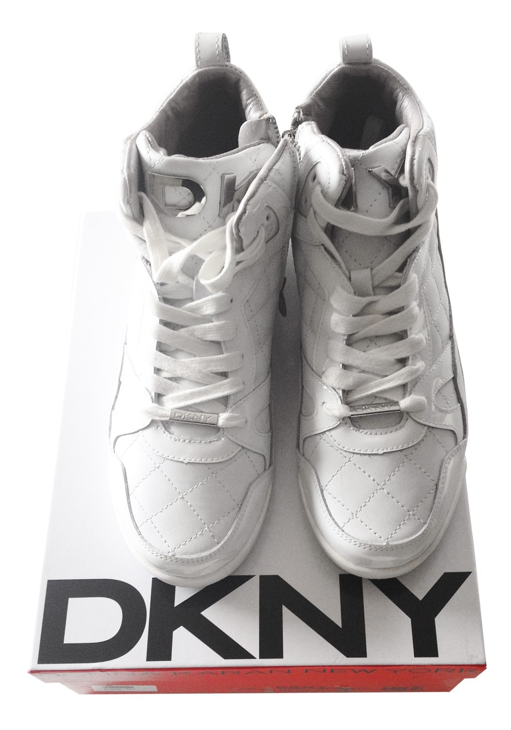 DKNY white leather sneakers